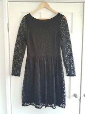 Oasis little black dress long sleeve floral flower lace mini floaty skater dress
