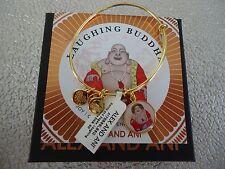 Alex and Ani LAUGHING BUDDHA Shiny Gold Charm Bangle New W/Tag Card & Box
