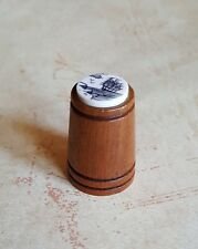 Vintage Carved Wood THIMBLE Marine Whaling Ship Scrimshaw Sewing Collectible