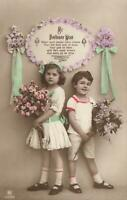 1900's VINTAGE HAND COLOURED REAL PHOTO GORGEOUS YOUNG GIRL & BOY POSTCARD USED