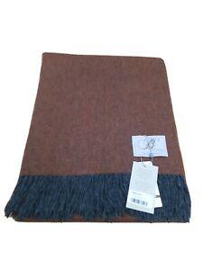 Bronte By Moon Luxury Herringbone Amber JLP Throw 100% Merino Wool Blanket