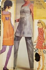 Vtg Simplicity pattern 9474 Misses Mini-Dress or Jumper & Bell Bottom Pants s 12