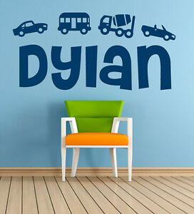 Personalised Name, cars transport vehicles, Vinyl Wall Art Sticker, Mural, Decal