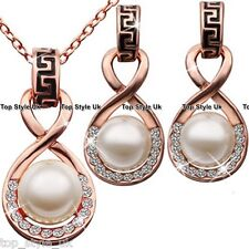 Rose Gold wid Ivory Pearl Necklace & Earrings Set Gift for her Wedding Wife Xmas