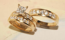14 Yellow Gold Wedding Bands & Engagement ring Man's & ladies Trio Set His/Hers