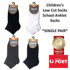Children's Premium Cotton Low Cut Ankle School Socks Kids' Anklet SINGLE PAIR