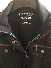 St John's Bay Women's Windbreaker Water Resistant Packable Jacket S - Dark Blue