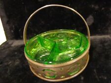 Depression Vaseline Uranium Green glass 3 compartment divided dish bowl candy