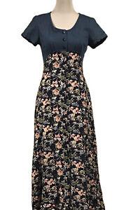 """Vintage""""Spoiled Girls"""" Size 10, Denim & Blue/Pink Floral Short Sleeve Maxi Dress"""