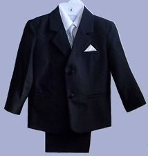 BOYS BLACK WEDDING RING BOY SUIT TUXEDO SILVER VEST #2T