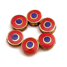 Round Coin Wholesale Lot Nepal Ub2499 Coral Lapis Brass 6 Beads Tibetan Flat