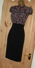 Black red floral pencil wiggle pussy bow blouse smart work office dress size 14