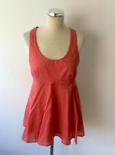 REISS CORAL ORANGE STRAPLESS CROSS OVER BACK COTTON BLEND SMOCK TOP SIZE 8