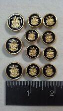 WATERBURY Men Metal BLAZER/JACKET BUTTON SET CrShM SB 3&8 Gold/Blk. Enamel/Epoxy