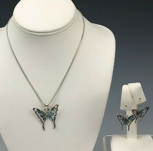 Sterling Silver 925 Inlaid Abalone Shell Butterfly Pendant Necklace Earrings NBP