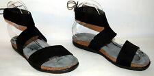 NAOT Larissa Leather Tie Back Sandals Black Velvet Women's Size 10/41M New