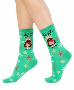 Charter Club Womens Reindeer Crew Socks Green Size 9/11