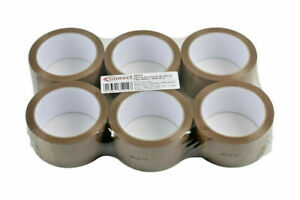 6 x ROLLS OF BROWN PACKING PARCEL PACKAGING REMOVAL TAPE 48mm x 66M FREE POSTAGE