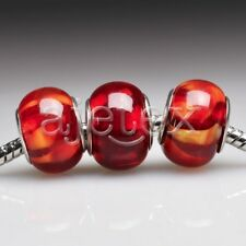 5pcs Murano Glass Bead Lampwork Round Spacer Fit European Bracelet LB0058