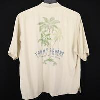 Men Tommy Bahama Ivory Graphic Hawaiian Camp Shirt Size XL 100% Silk Beach Relax