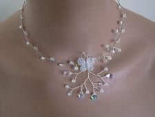 Collier Blanc/Cristal Papillon pr robe de Mariée/Mariage/Soirée Unique perles