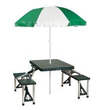 Folding Outdoor Picnic Table Umbrella Plastic/Metal Set Patio Portable Camping