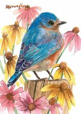 ACEO Limited Edition  - Bluebird in wild flowers
