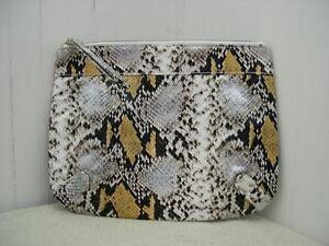 Elizabeth Arden YELLOW Snake Print Clutch Purse Bag