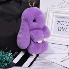 Genuine Fur Bunny Fluffy Rabbit Keyring Pompom Keychain Bag Charm Pendant Purple