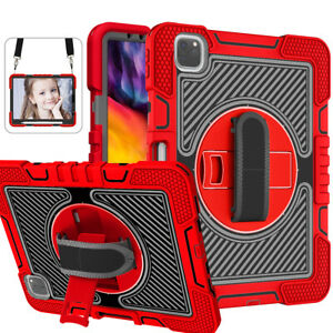 For Apple iPad Air 4th Generation 10.9 2020 Heavy Duty Rotating Strap Case Cover