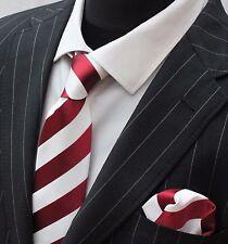 Tie Neck tie with Handkerchief Burgundy & Pure White Broad Stripe