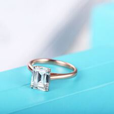 Solid 18K Rose Gold Engagement Anniversary Ring Emerald Cut 9X7mm Eternal Gift