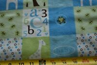 """By 1/2 Yd, 42"""" Wide, Baby-Theme Green &Blue Flannel Quilt Fabric, Jo-Ann, N4757"""