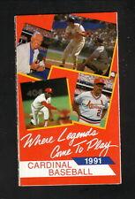 St Louis Cardinals--Musial--Gibson--Schoendienst-1991 Pocket Schedule-Busch Beer