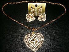 Jewelery Set Chain Kundan Heart Shape Shiny Pendant Earrings Golden-Coloured