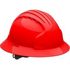 JSP Hard Hat Vented Full Brim Red with 6 Point Ratchet Suspension