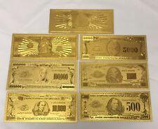 7 Gold .999 24k Banknotes $500, 1,000, 5,000, 10,000, 100,000, Million, Billion