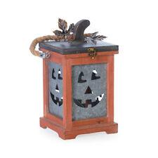 Darice Halloween Decor - Wood Metal Pumpkin Face Lantern