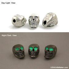 """Skull bead Pewter Vertical 3/16""""hole Glow n Dark Eyes JEBE-TM-002"""