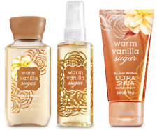 3pc Bath & Body Works WARM VANILLA SUGAR Minis Shower Gel-Body Mist-Body Cream