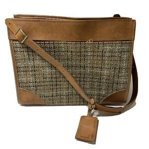 Hartmann Luggage Vintage Tweed Leather Weekender Tag Plastic Liner Classic