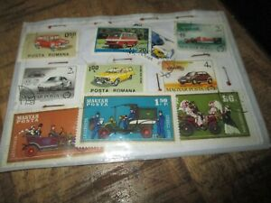 Philatélie-Pochette de timbres étrangers-Thème véhicules,Alpha,Peugeot...