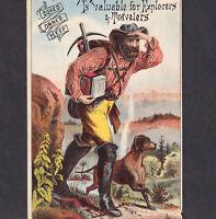 Wild West 1800's Miner Cowboy Explorer Libby McNeill Meat Tin L.I. NY Trade Card