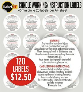120 CANDLE WARNING - INSTRUCTION LABELS - HIGH TACK VELLUM ADHESIVE MATERIAL