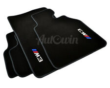 BMW Floor Mats M3 E46 Black Tailored Carpets With Grey Rounds & Clips RHD UK