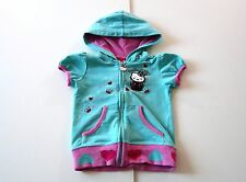 Hello Kitty Size 4 Girls Teal Pink Zipper Short Sleeve Hoodie Sweatshirt EUC