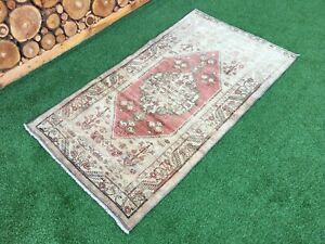 3'4''x5'11'' Vintage Turkish Rug,Oushak Short Runner,Antique Ushak Rug,Area Rug