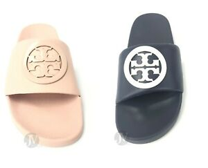 Tory Burch Lina Slide Nappa Leather Logo Sandals Shoes
