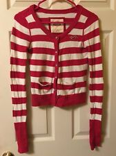 Hollister Striped Cropped Cardigan Size Small With Rhinestone Buttons