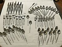76 Pcs Vintage New Camellia Stainless Steel Flatware Silverware Set Made Japan
